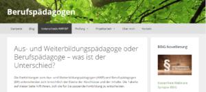 Website zu Berufspädagogen und Aus- und Weiterbildungspädagogen