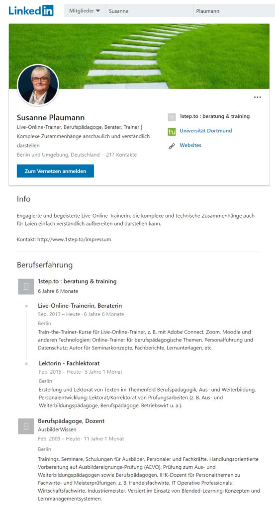 Öffentliche Sicht LinkedIn-Profil Susanne Plaumann