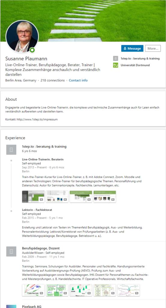 Profil-Ansicht Susanne Plaumann für LinkedIn Nutzer