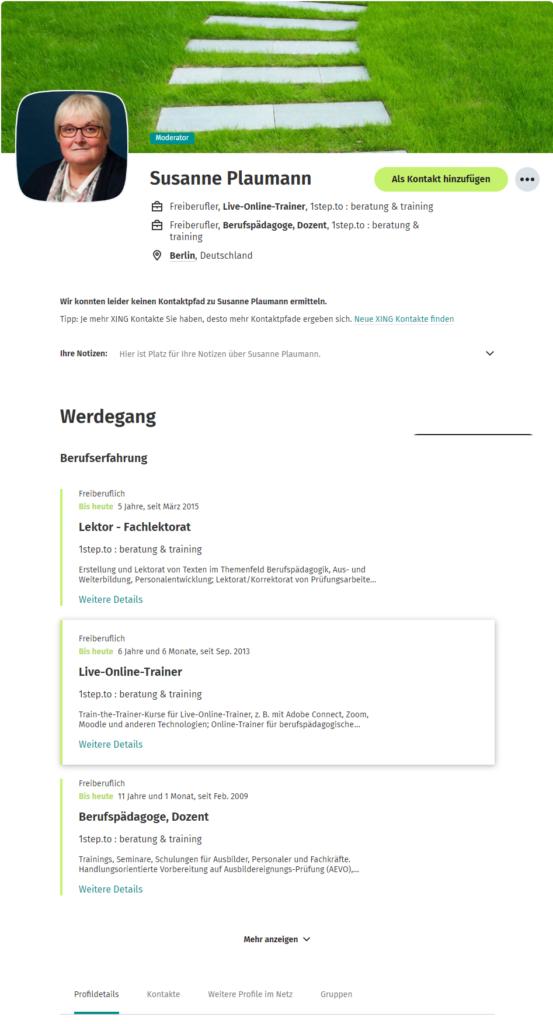 Anzeige Profil Susanne Plaumann für XING-Nutzer