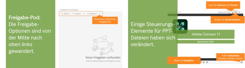 Adobe Connect 11: Darstellung der veränderten Funktionselemente im Freigabe-Pod