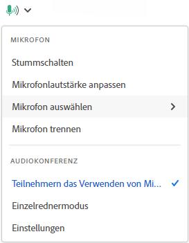 Adobe Connect 11: Menü Mikrofon und Audio für Veranstalter