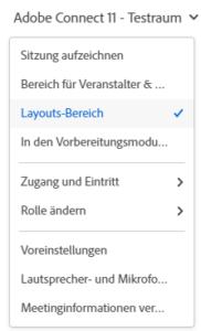 Adobe Connect 11: Menü Raumname für Veranstalter