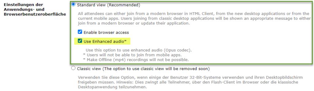 Adobe Connect 11.2: Einstellungen für Raum mit erweiterter Audio-Version